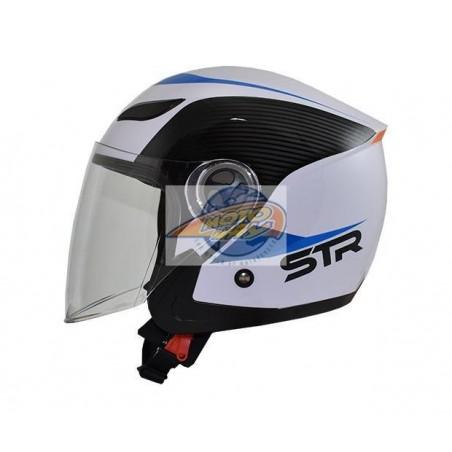 Κράνος STR Sporty Λευκό - Μπλε Jet Medium