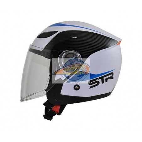 Κράνος STR Sporty Λευκό - Μπλε Jet Large
