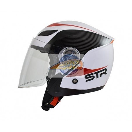 Κράνος STR Sporty Λευκό - Κόκκινο Jet Large